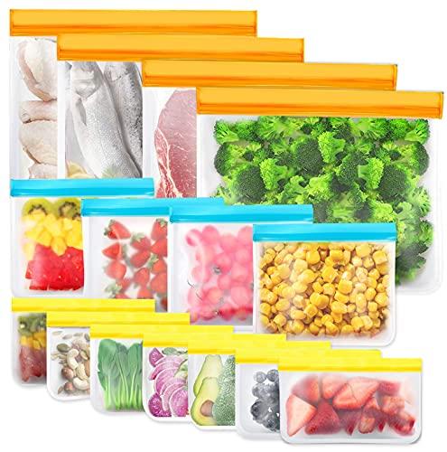 15 Piezas Bolsas de Almacenamiento Reutilizables, Bolsa Silicona Reutilizables sin BPA, Bolsas de Almuerzo Ziplock Snack, Bolsas de Alimentos Ecológicas e Impermeables para Frutas, Almuerzos, Viajes