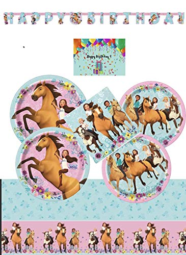 Spirit Riding Free Party Supplies and Decorations Kit for 16 - Lunch and Dessert Plates, Birthday Banner, Table Cover and Napkins Bundled with Birthday Card by JPMD Party House