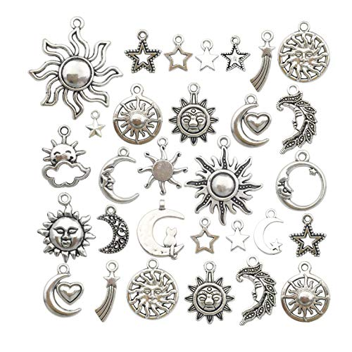 80 pcs Craft Supplies Mixed Antique Silver Sun Moon Stars Charms Pendants for Crafting, Jewelry Findings Making Accessory for DIY Necklace Bracelet WM250