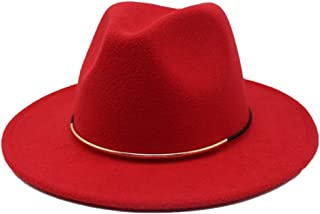 WUNONG-AU 2019 Men's and Women's Autumn and Winter Fedora Hat Couple Dating Outdoor Humboldt Travel Woolen Hat Wide Side Jazz Cap (Color : Red, Size : 56-58)