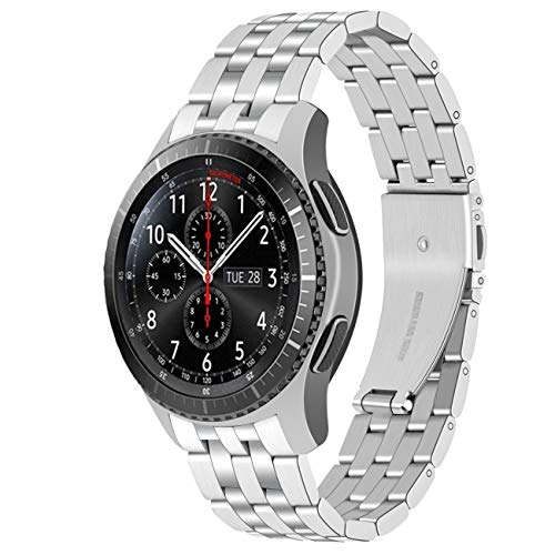 Yingshi Premium Stainless Steel Curved Ends Silver Watch Band with Unique Double-Switch Quick Release Pins Compatible with Gear S3 Frontier Classic Galaxy 46mm Bands for Men Women