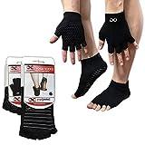 Half Toe Socks, Black (Grey Lines, M/L) & Gloves Set, For Yoga, Pilates