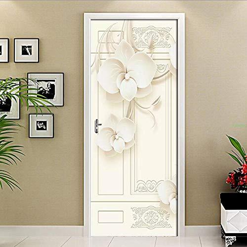3D Türaufkleber PVC Selbstklebende Wasserdichte weiße Blume Abnehmbare Art Decals TürPoster für Wandbild Wohnzimmer Schlafzimmer Badezimmer Dekoration 77x200 cm