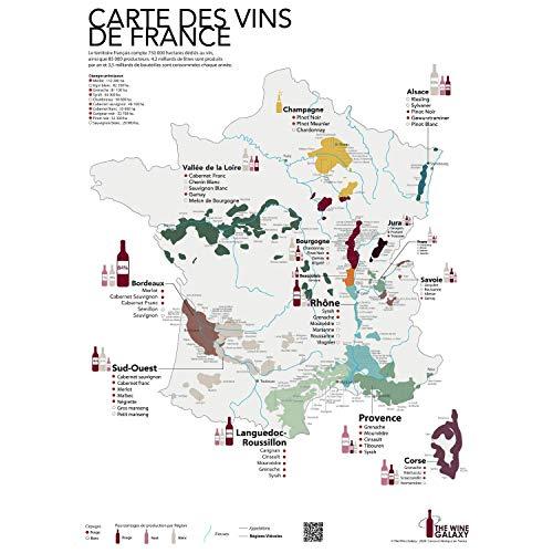 The Wine Galaxy IDEE - Tarjeta impresa de los vinos de Francia y las regiones vitícolas (formato estándar 50 x 70 cm) | Póster de pared sobre el vino francés | Póster con mapa del viñedo de Francia