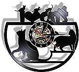 CDDRSXYQ Reloj de Pared de Vinilo Lindo Gato Set Reloj de Vinilo Reloj de Pared decoración del hogar Moderno Personalidad Retro decoración de la Sala de Estar Regalos Hechos a Mano