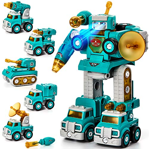 Take Apart Robot Toy Vehicle Set 5 in 1 Construction Toys for 5 Year Old Boys STEM Toys Vehicles Transform into Robot for Kids Toys for 6 7 Year Old Boys Kids Building Toys