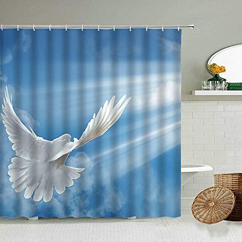AETTP Blauer Himmel Weiße Wolken Taube Duschvorhang Naturlandschaft Badezimmer Dekoration wasserdichte Trennwand Gardinen 180 * 180cm