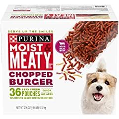 One (1) 216-Ounce Box Of Purina Moist & Meaty Chopped Burger Dog Food 100% Complete & Balanced Nutrition For Adult Dogs Serve Up The Smiles With Tender, Meaty Pieces Made With Real Meat Enjoy Convenience And No Mess With Individual Stay Fresh Pouches...