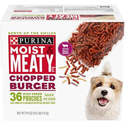 Purina Moist & Meaty Wet Dog Food, Chopped Burger - 36 ct. Pouch (00038100330352) (B002CJISGA-PARENT) Review