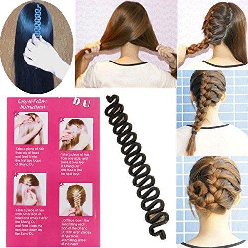 Lumanuby 1 Pcs Outils de coiffure Cheveux Tressage Styling Fabricant Plastique Cheveux Tressage Styling Fabricant Chignon Outil Crochet Coiffure Clip Bun Maker pour (Noir)