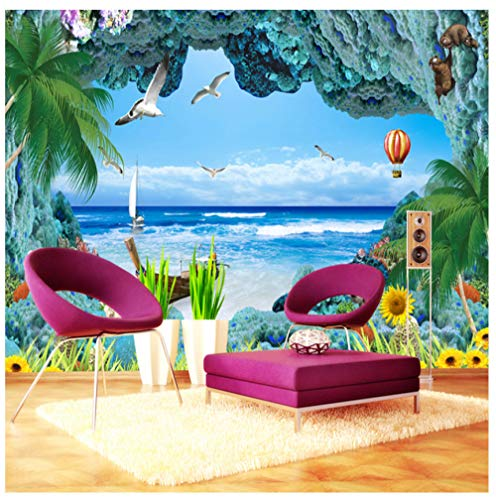 Benutzerdefinierte 3D Fototapete Korallenriff Stereo Ozean Landschaft 3D Raum TV Hintergrund Mittelmeer Seascape Wandbild Tapete Seide