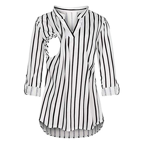 YOOJIA Femme Allaitement Vetement Grossesse Chemise Carreaux Femme Enceinte T-Shirt à Manche Longue Printemps Automne Haut de Pyjama Maternité T Shirt Grossesse Tunique Blouse Noir&Blanc XL