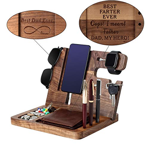 Gift for DAD-Wooden Phone Docking Station, Personalized Gift, Custom Engraved Nightstand Organizer with Phone Charge Station, Watch,Key, Wallet Stand, Best Gifts for Father's Day, Birthday(Ebony)