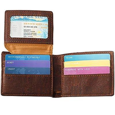 Corkor Cork Wallet Passcase   Vegan Cruelty Free Non Leather Bifold Cards Cash Brown Color
