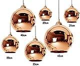 Kupfer Glas Kugel Pendel Leuchte, JJGD Industrie Spiegel Mundgeblasene Glas Kugel Lampenschirm E27 Decken Leuchten, Kücheninsel Beleuchtung für Wohnzimmer Schlafzimmer Bar Hochzeit (Größe: 30cm)