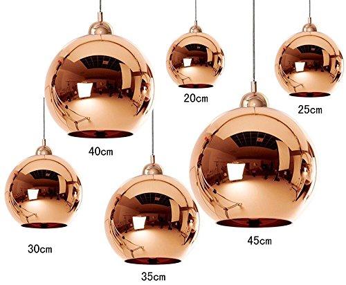 Kupfer Glas Kugel Pendel Leuchte, JJGD Industrie Spiegel Mundgeblasene Glas Kugel Lampenschirm E27 Decken Leuchten, Kücheninsel Beleuchtung für Wohnzimmer Schlafzimmer Bar Hochzeit (Größe: 25cm)