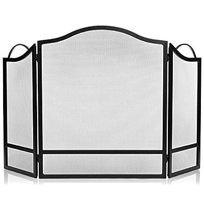 DOEWORKS 3 Panel Fireplace Screen Black Spark Guard Cover from DOEWORKS