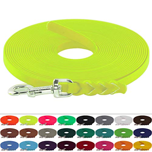 LENNIE BioThane Schleppleine, 13mm, Hunde 15-25kg, 10m lang, ohne Handschlaufe, Neon-Gelb, geflochten