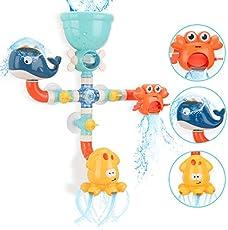 BBLIKE Bath Toys Bathtub Toys for Toddlers Kids 1 2 3 4 5+ Year Old Girls Boys, DIY Preschool Bath Pipes Toy, Cute Animal Water Spray Baby Bath Toys-Colorful