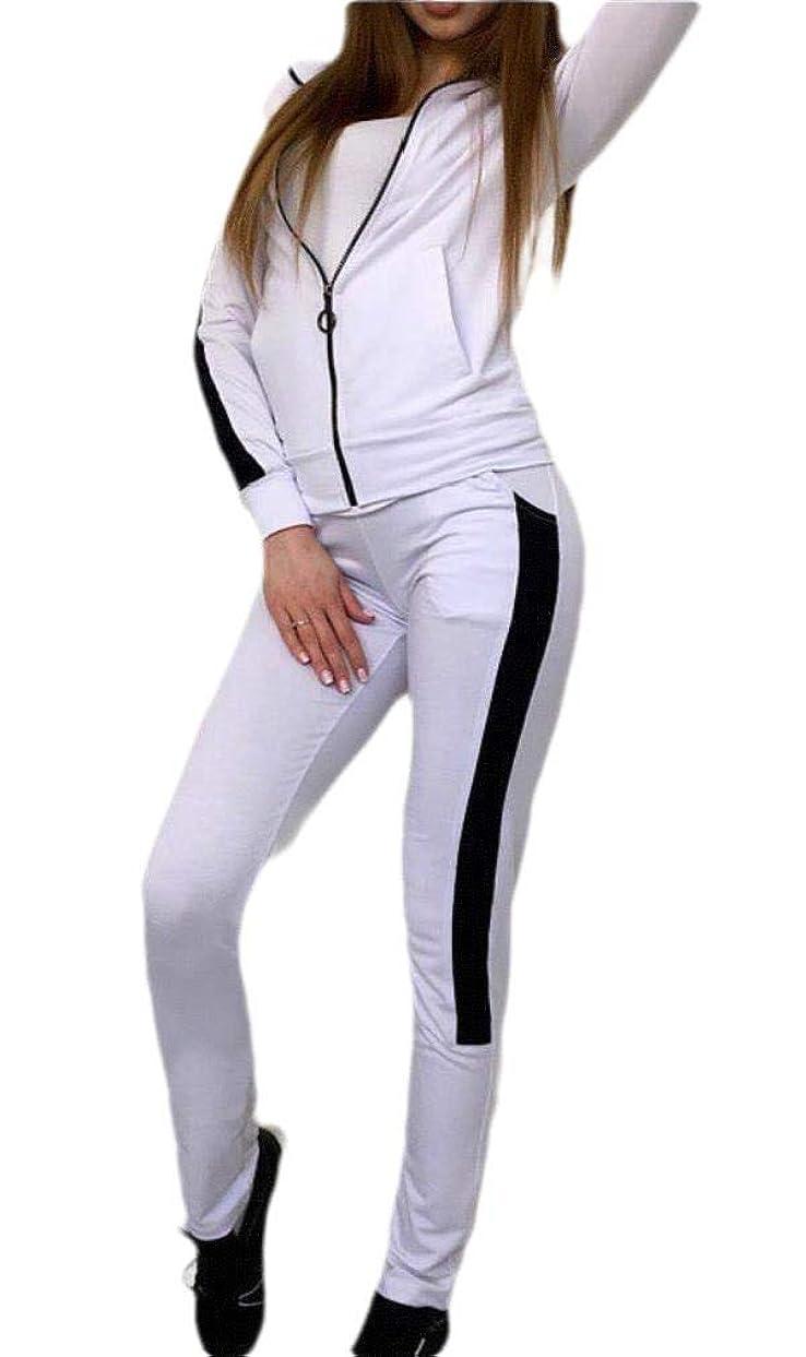 腸かんがい種をまくVITryst 女性ジッパーポケットコントラストスキニーアクティブトレーニングトラックスーツセット
