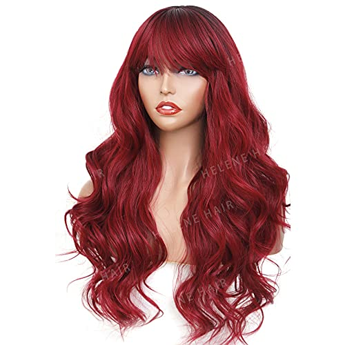 Burgundy wig with bangs _image3