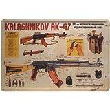 Letrero metálico con inscripción de Kalashnikov AK-47, de300mm x 200mm (JK)