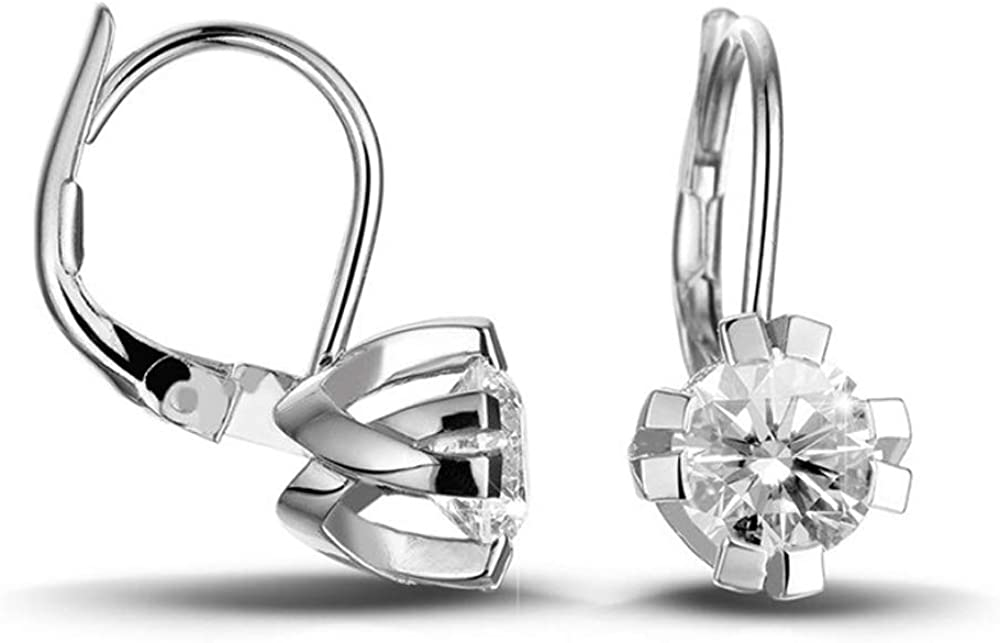 1.00 Carat Round Cut 売り込み D VVS1 Earring Diamond Solitaire Back Lever 100%品質保証!