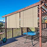 Windscreen4less Exterior Roller Shade Blinds Outdoor Roll Up Shade for Porch Patio Pergola Balcony with 90% UV Protection Privacy 6' W x 6' L Beige Tan