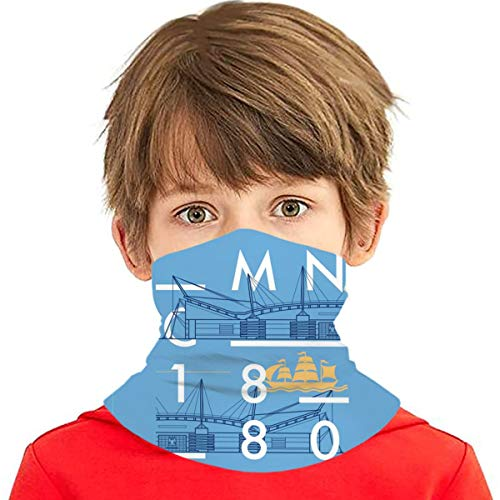 Lightweight Tube Masks, Kids Youth Dust Proof Breathable Neck Gaiter, Etihad Stadium Manchester City Sport City Sailboat Pattern Headwear Neck Scarves for Cycling Skiing