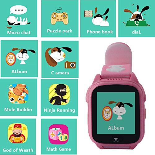 Hangang Smartwatch GPS Tracker Kids 9 Juegos Kids Phone, Smart Watch para niños de 3 a 14 años para niños y niñas con un solo botón SOS Camera Sport Outdoor Digital Wrist Pulsera (pink)