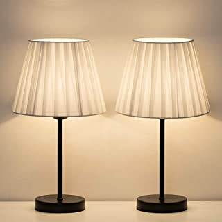 HAITRAL Bedside Table Lamps - Small Nightstand Lamps Set of 2 with White Fabric Shade, Bedside Desk Lamp for Living Room, Office, Dorm, Kids Room, Girls Room - 15 Inches (HT-TH68-21X2)