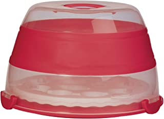 Prepworks by Progressive Collapsible Cupcake and Cake Carrier, 24 Cupcakes, 2 Layer, Easy to Transport of Muffins, Cookies or Dessert to Parties - Red