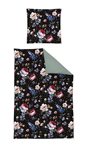 Irisette Mako Satin Bettwäsche 2 teilig Bettbezug 135 x 200 cm Kopfkissenbezug 80 x 80 cm Opal 8817-99 Black