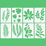 8 PCS Large Reusable Leaf Painting Stencil Set with Metal Ring Plastic Paint Stencils Botanical Leaves Pattern Drawing Template for Painting on Wood Scrapbook Paper Wall Home Decor - 12 x 8 inch Size