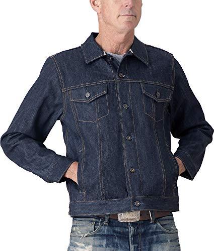 Tellason Made in USA Men's 16.5 oz Japanese Kaihara Selvedge Denim Jean Jacket (XL) Blue