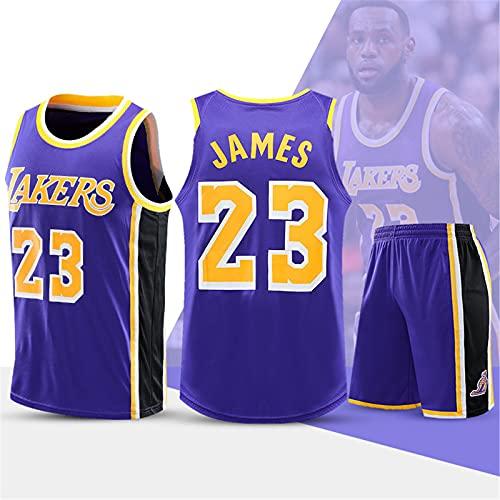YXST Jersey NBA # 23 Herren Basketball Trikot,Coole Atmungsaktive Stoff T-Shirt + Shorts,Retro Sport Trikot füR Den TäGlichen Gebrauch Und Das Basketballturnier,Purple,4XL(180-185cm)