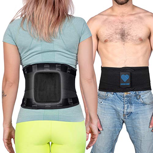 Lower Back Brace for Pain Relief - Adjustable Back Support Belt for Lifting Work / Lumbar Support. Back Strap for Relief of Pain from Sciatica, Scoliosis, for Men and Women - M (33'' – 43'' Waist)