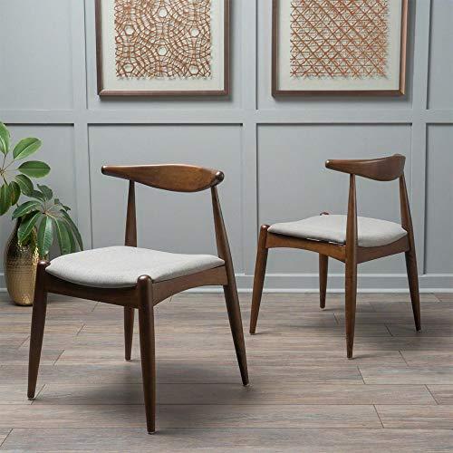 Modern Dining Chairs (Set of 2)-Light Gray/Walnut