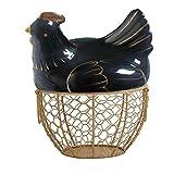 Portauova a forma di pollo in ceramica metallica, cestino per uova, cestino decorativo da cucina, per la decorazione della cucina, per snack e frutta