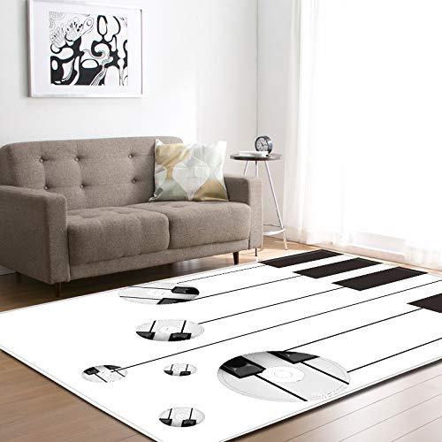 Grote tapijten voor woonkamer, eetkamer, slaapkamer, antislip, binnenkant, vloermatten, wooncultuur, abstracte piano en muziekplaten, moderne print 180 × 120 cm