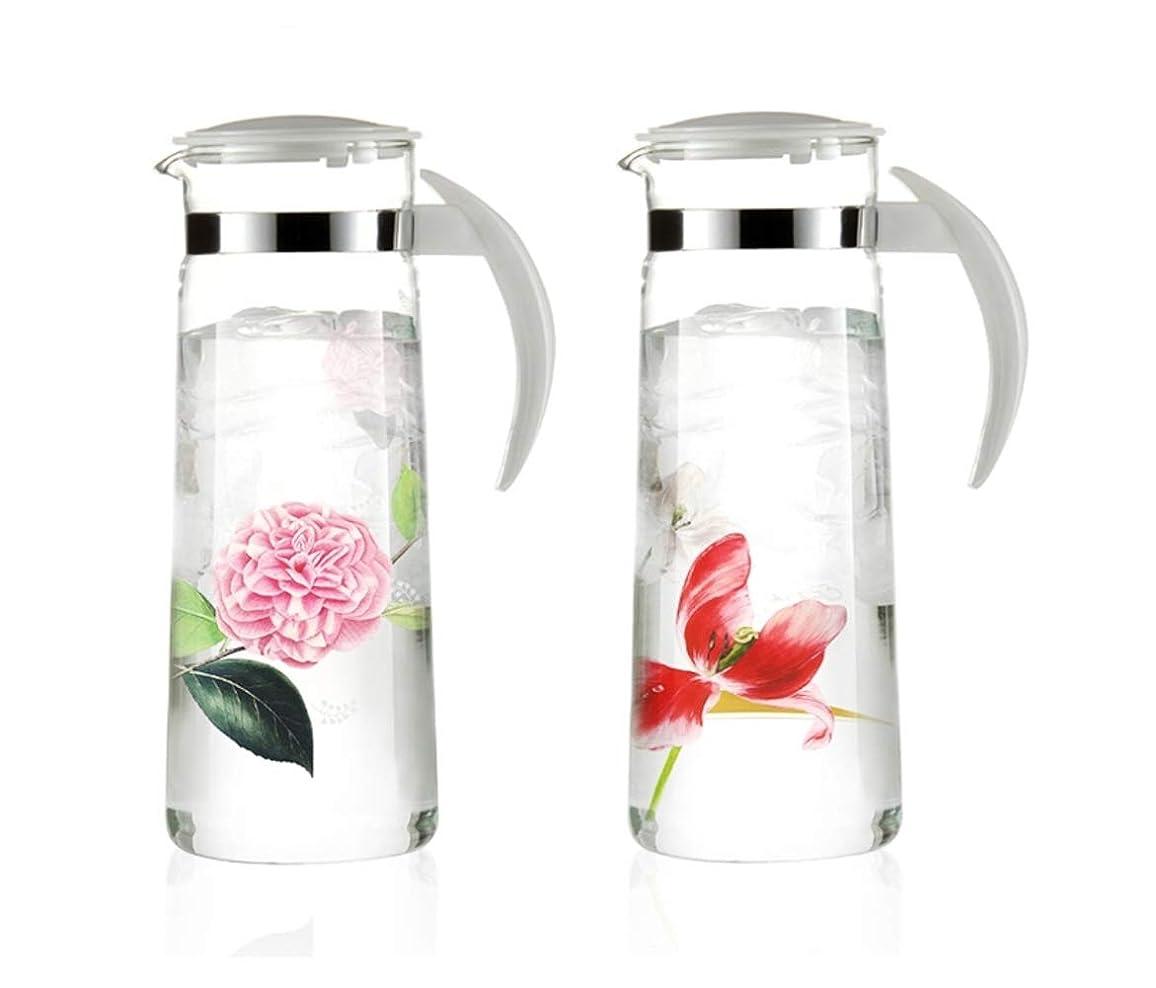 鎖憎しみ慈悲深いNeoflam Floral Glass Carafe, 耐熱ガラス クールサーバー 冷水筒 ピッチャー 1.4L 2個セット [並行輸入品]