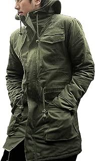 SHEYA モッズコート メンズ ミリタリー アーミー パーカー フード ファー ハーフコート 防寒 レディース カジュアル キルティング ジップアップ アウター 黒 秋冬服