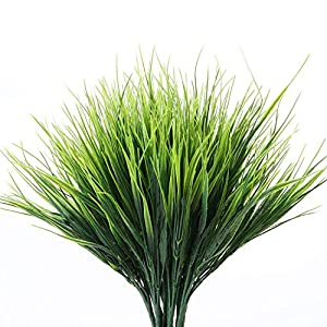 Artificial Plants Outdoor – 24 Stems, Small Grasses Potted Plant Filler, Outdoor Flowers Fake Green Grass – Artifical Pampas Fillers Bundles For Garden, Window,Box,Yard,Fence – Faux Plastic Gras Mums