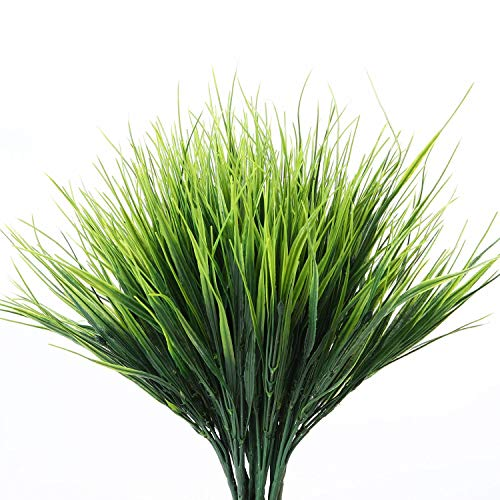 Artificial Plants Outdoor - 24 Stems, Small Grasses Potted Plant Filler, Outdoor Flowers Fake Green Grass - Artifical Pampas Fillers Bundles For Garden, Window,Box,Yard,Fence - Faux Plastic Gras Mums