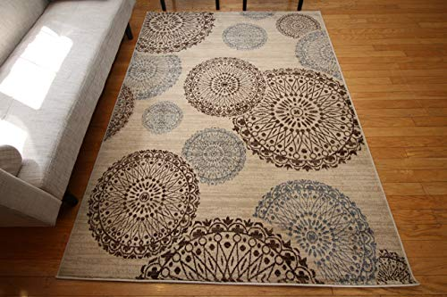 Feraghan/New City Contemporary Modern Flowers Wool Area Rug, 4′ Round, Brown/Beige