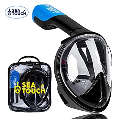 SeaTouch Full Face Snorkel Mask Set with Safe Underwater Breathing System, Premium 180 Panoramic View, Snorkeling Packages, Anti Fog Anti Leak. Great for Women Men Kid Family Rest Water Swimming