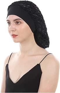 Vintage Elastic Wide Band Snood Bonnet Double Layered Hair Net Night Sleep Hat Crocheted Slouchy Beanie