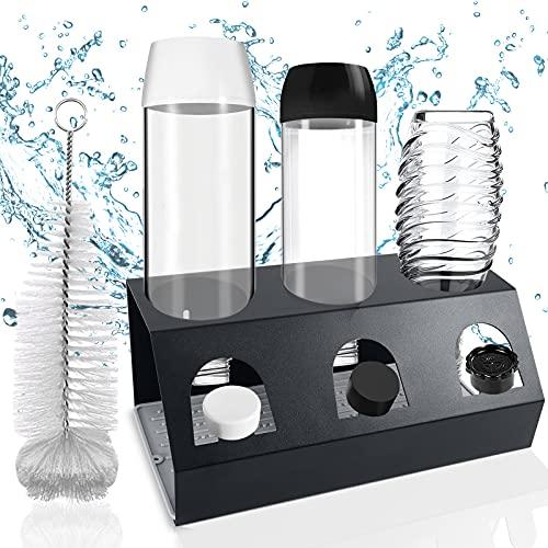 GUSUWU Botellero de acero inoxidable para SodaStream, Apto para tazas y botellas Emil, con una bandeja de goteo extraíble + Cepillo para botellas
