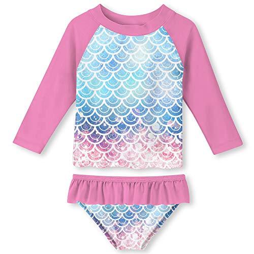 ALOOCA traje de baño de dos piezas para niñas pequeñas, traje de baño de manga larga con estampado de bikini, traje de baño UPF50+ traje de baño de playa 2-8T