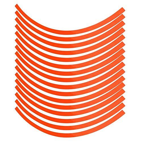 Coche Motorciel Rueda Reflectante Pinstripe Decal Pegatina Pegatina Película de decoración de 16-19 pulgadas Coche, Bicicleta y Mortorciclo (Color : Orange)